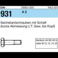 A2-70  M 8x 50 100 Stück Sechskantschrauben mit Schaft DIN 931