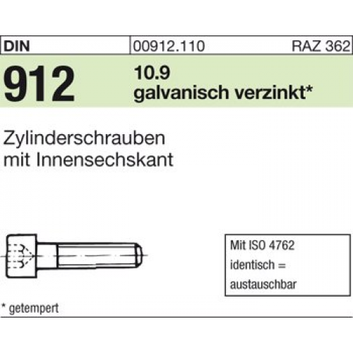 verzinkt 25 St/ück Zylinderschraube DIN 912 Stahl 10.9 galv M 24 x 60