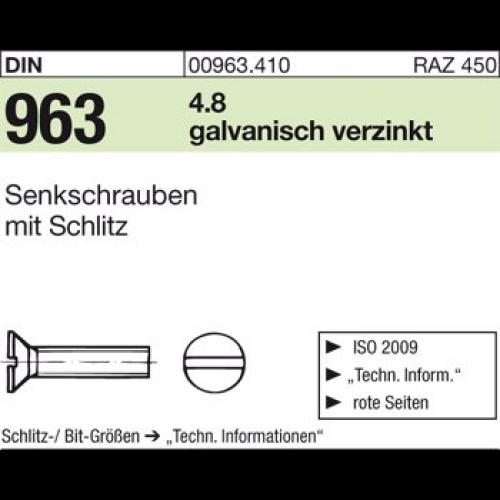M 8 Senkschrauben mit Schlitz DIN 963 4.8 Stahl galvanisch verzinkt M 6