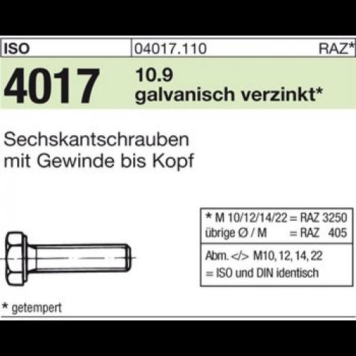 verzinkt A2F 25 x  Sechskantschrauben mit Schaft ISO 4014 10.9 M 16 x 70 galv
