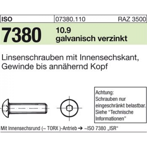 10x ISO 10642 Senkschrauben 10.9 galv Innensechskant M 4 x 10 verzinkt farbl