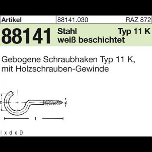 Schraubhaken Gebogen 3,3 x 40 mm Stahl weiss beschichtet 100 St/ück