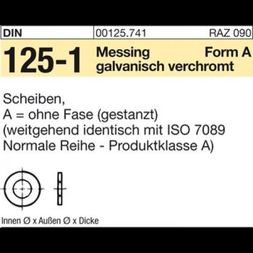 Scheiben DIN 125-1 Messing galvanisch vernickelt Form A