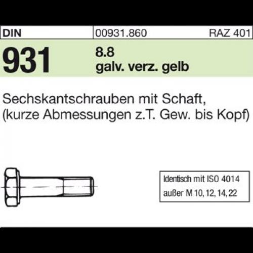 4051426756541 DIN 931 8.8 M 20 x 140 galv. verzinkt gelb chrom. A3C ...