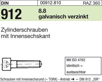DIN 912 Zylinderschraube Innensechskant M 8 x 90 verzinkt farblos 8.8 galv
